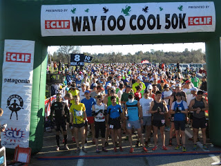 The starting line of the Way Too Cool 50K with Max King, Chris Vargo and Leor Pantilat