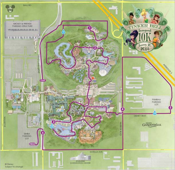 Tinker Bell 10K Course Map